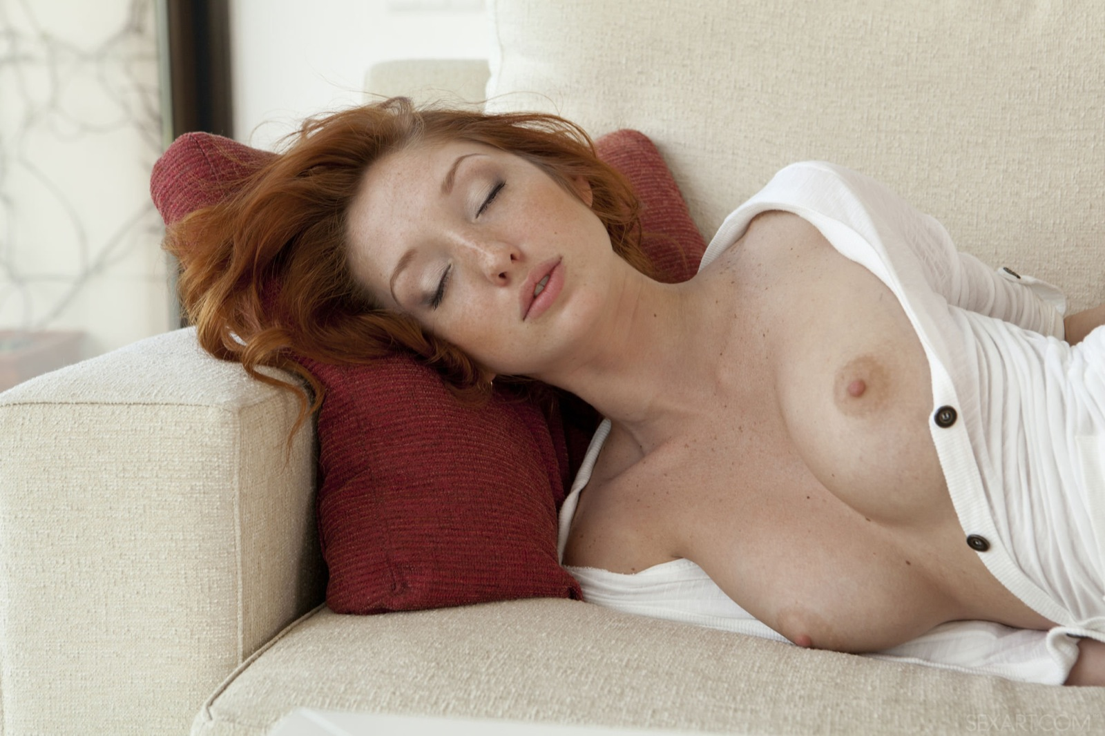 Nude Skinny Redhead Girl On The Couch